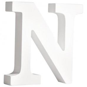 MDF- Buchstabe   N  , weiß, 11cm, Stärke 2cm