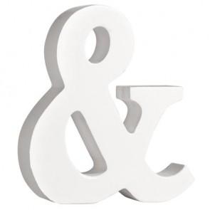 Holz-Zeichen   &  , weiß, 11cm, Stärke 2cm