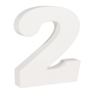 Holz-Zahl   2  , weiß, 11cm, Stärke 2cm