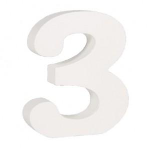 Holz-Zahl   3  , weiß, 11cm, Stärke 2cm