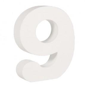 Holz-Zahl   9  , weiß, 11cm, Stärke 2cm
