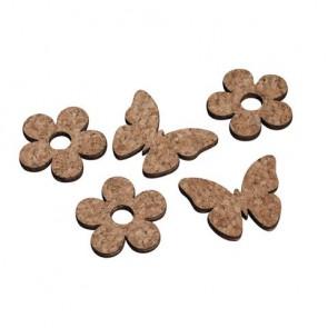 Kork/Holz Streuteile Blume+Schmetterling, 3,5-4,0x0,3cm, 2 Sorten , SB-Btl 12Stück