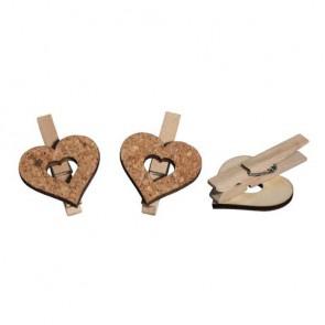 Kork/Holz Herz auf Klammer, 4.5x5.0cm, 2 Sorten, SB-Btl 6Stück