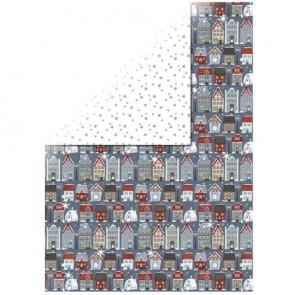 Motivkarton Häuser, 213x310mm, mit Silberfolie, 190 g/m2